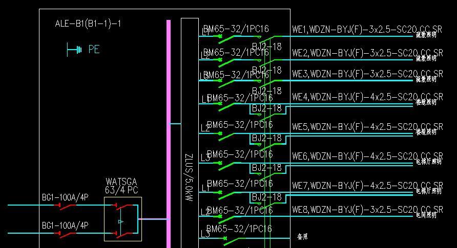 如图 应急照明配电箱,穿四根线照明回路接线问题