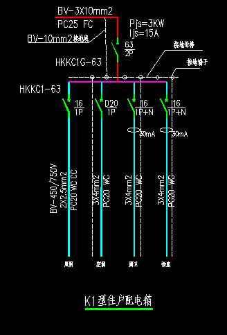 动力配电箱实物接线图
