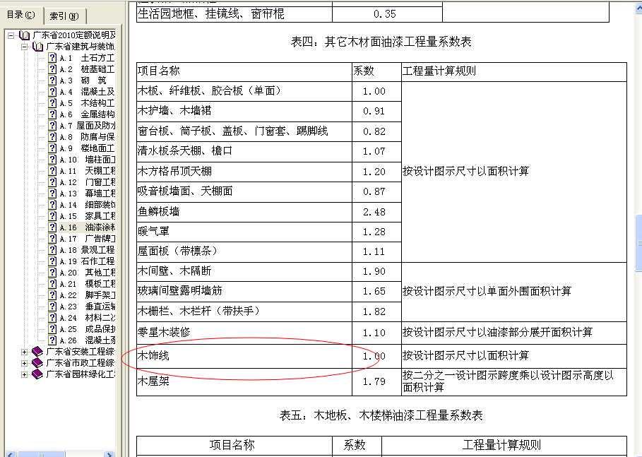 根据其它木材面油漆工程量系数表